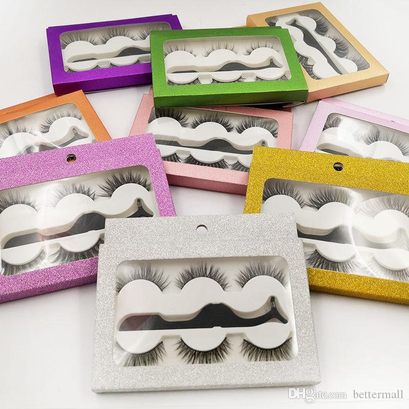 Handmade reusable fake lashes 3 pairs set natural look soft & vivid false eyelashes extensions with luxury packaging +tweezer DHL Free