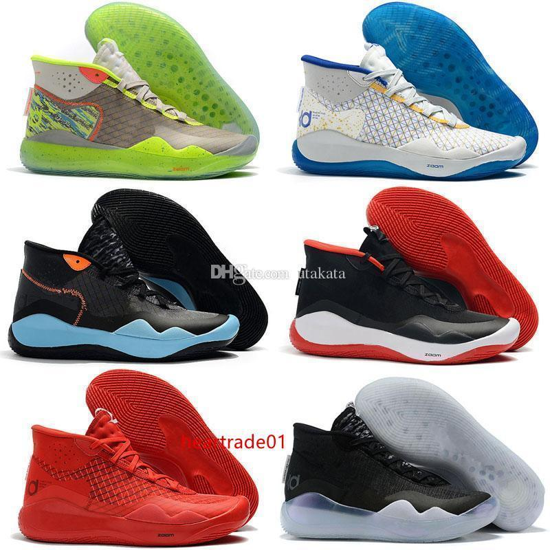 boxTop With Kevin Durent 12 KD XII The Day One Protro Green Camo Mens Women Kid Basketball Shoes 12s KD12 Sports Sneakers Size 5-12