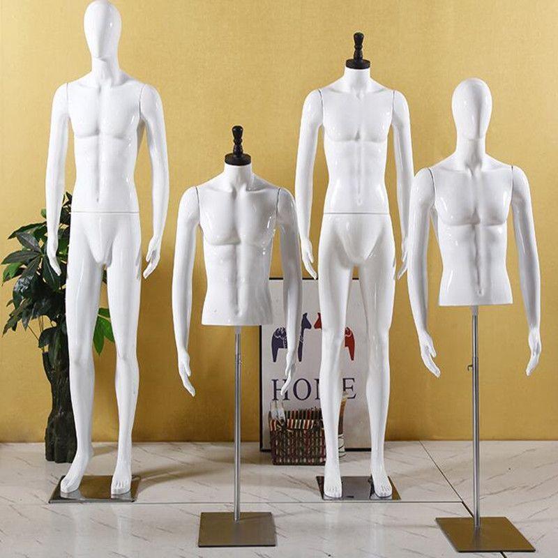2style ABS-Kunststoff männliches Mannequin Halbkörpermodell Aufmä Hochzeitskleid Bekleidungsgeschäft Eisenbasis Dummy Plattform 1pc D144