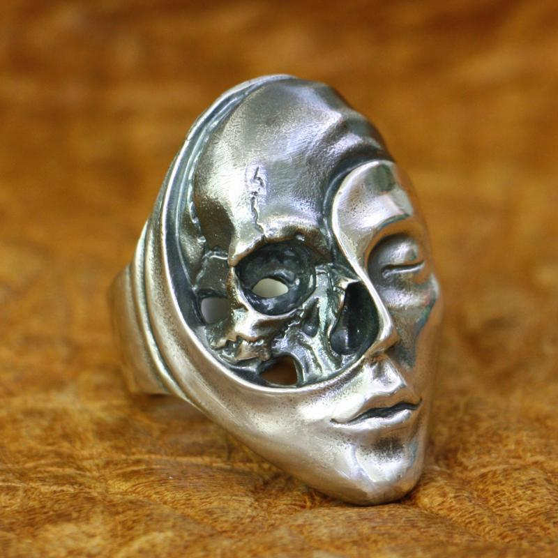 Yaşam Ölüm Cennet Cehennem Kafatası Yüz Yüzük 925 Gümüş Erkek Punk Yüzük TA179 ABD Boyut 7 ~ 15