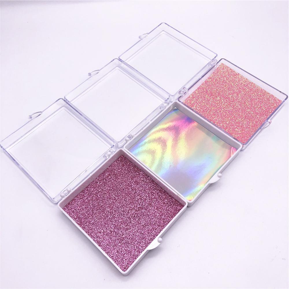 3D норковые Ресницы с пластиковыми квадратными коробками, пластиковыми ресницами квадратных коробками с блестишь, пластиковые квадратные компенсаторы коробки 3D Минк Lashes