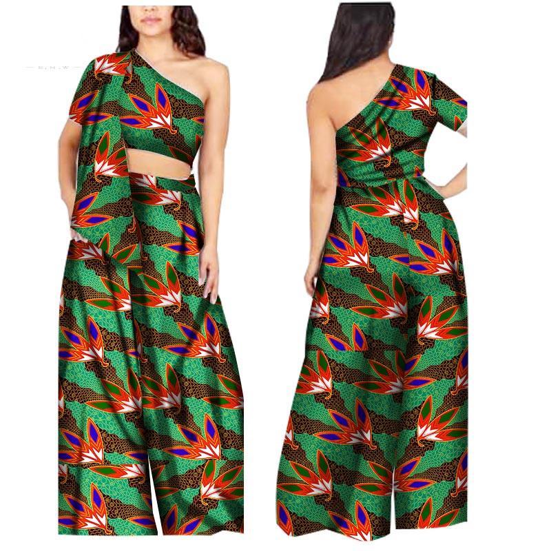 2019 Nova Chegada áfrica pant macacão para as mulheres Dashiki Top e Calças macacão Bazin Riche Plus Size Roupas Africanas WY1391