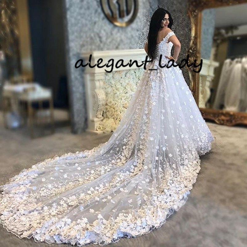 Robes de mariée en Arabe saoudite 3D papillon floral Puffy blanc pure dentelle de lacette de la cathédrale Vestido de NOIVA Casamento Gelinlik Robe de mariée