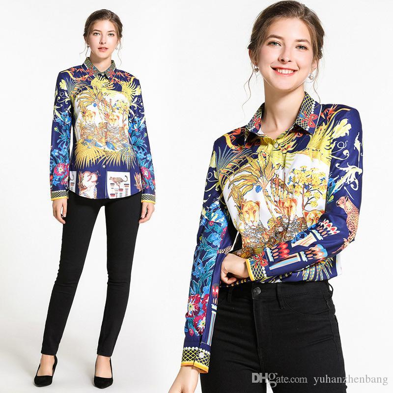 New Hot Spring Runway Luxury Vintage stampa floreale collare OL casuale delle donne Ufficio pulsante anteriore risvolto maniche lunghe Slim camicia della parte superiore camicetta