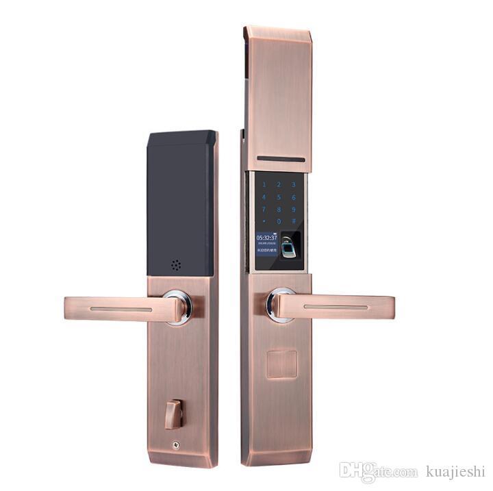 Slayt tipi çinko alaşım yarı iletken parmak izi kilidi ev elektronik anti-hırsızlık akıllı kilit şifre kilidi uzaktan açık kapı