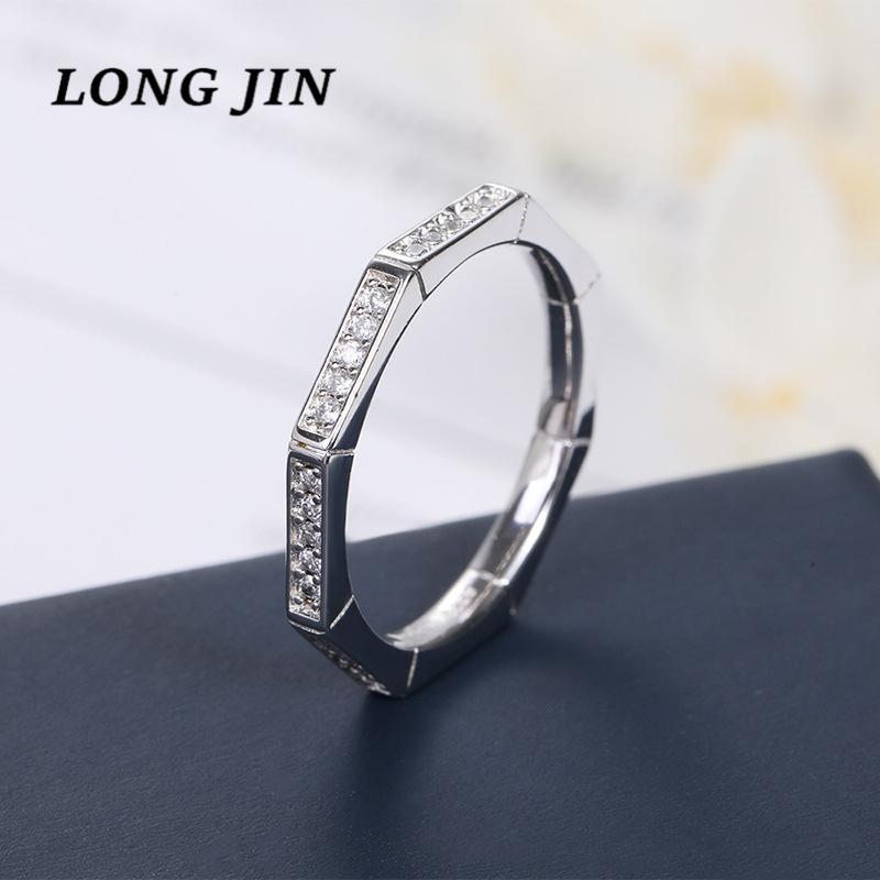 Nuovo Octagon Anello del Giappone e la Corea del Sud con lo Zircon anello d'argento di colore di personalità semplice delle coppie di modo di monili fede nuziale
