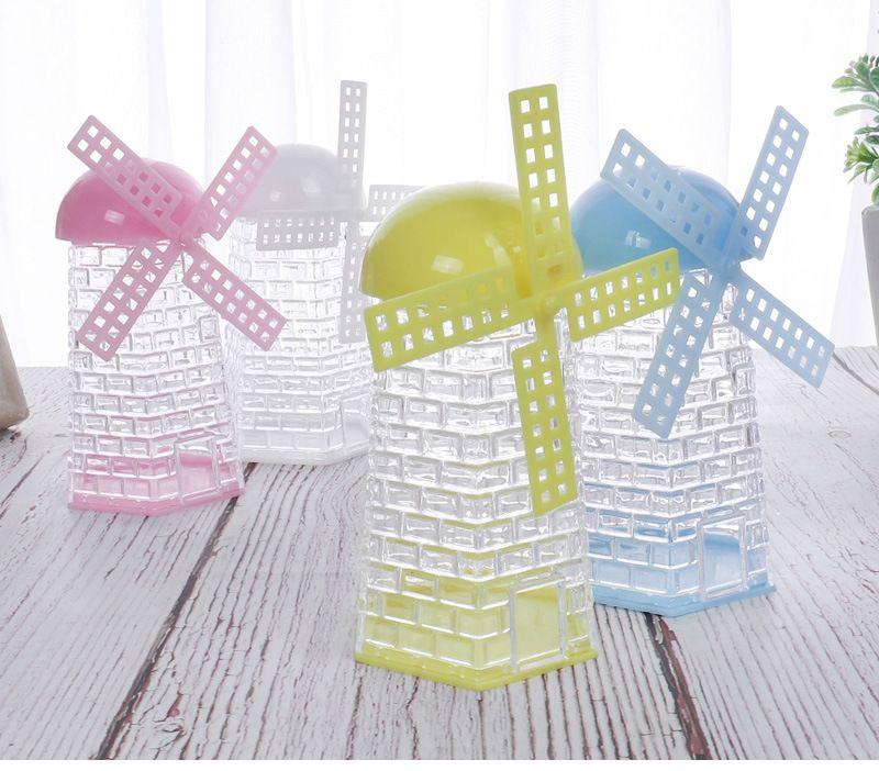 12 Pieces 5x10cm Windmill forma transparente caixas plásticas de doces suporte do açúcar Contentores de presente caixas de embalagem de 4 cores XD23263