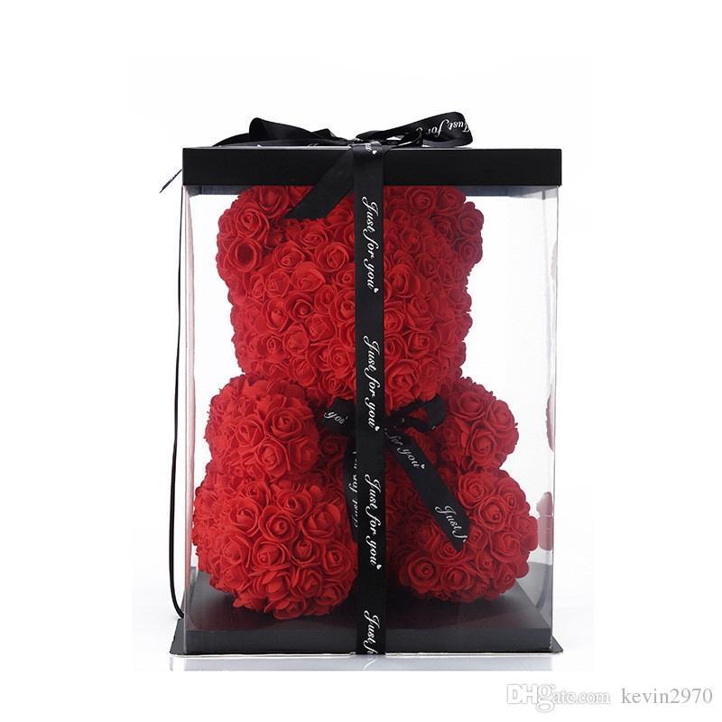 여자 친구 2020 크리 에이 티브 25cm 솔리드 로맨틱 귀여운 로즈 곰 꽃과 선물 상자 웨딩 장식 생일 발렌타인 데이 선물