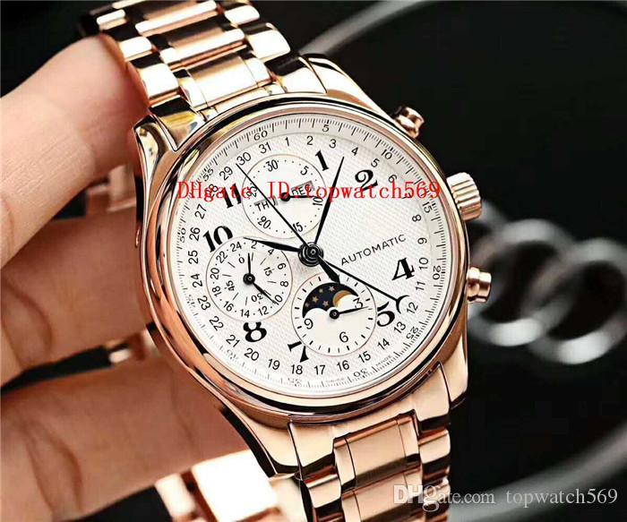 Caliente Master Collection reloj para hombre reloj suizo 7751 del calendario anual del cronógrafo automático de la fase de la luna de zafiro de 18 quilates de oro rosa de acero 316L CNC