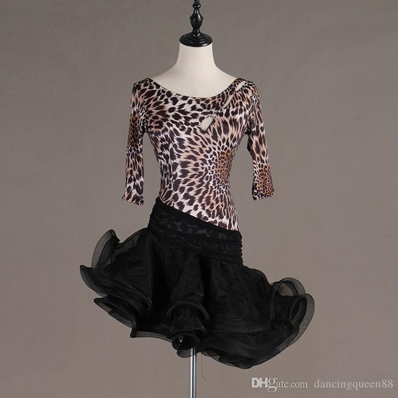 2020 yeni seksi leopar Latin Dans Elbise Kadınlar Kızlar Salsa Samba Dans Kostümleri Latin Dans Yarışması Tango Elbiseler Kadınlar Ücretsiz nakliye için