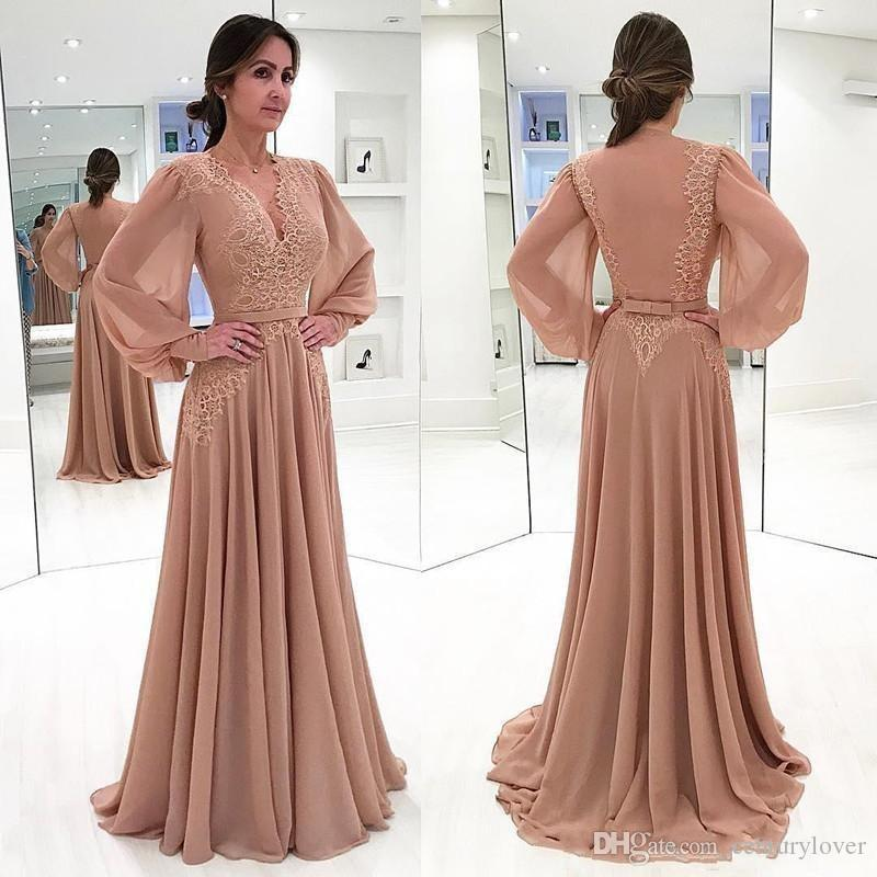 Lüks Şifon Anne Gelin Elbiseler V Boyun Uzun kollu Dantel Aplikler Bow Kat Uzunluk Artı Boyutu Balo Parti Elbise Akşam elbise
