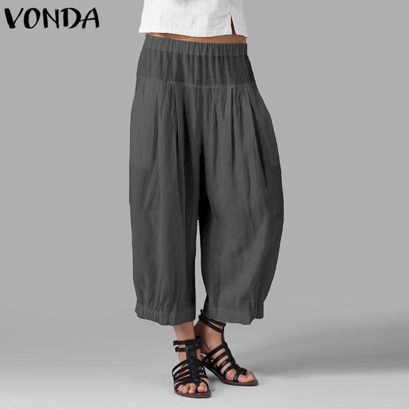 Mujeres de otoño pantalones de pierna ancha 2019 pantalones de harén de cintura alta ocasionales sueltos pantalones sólidos más tamaño Vintage Bottoms 5xl Y19070101