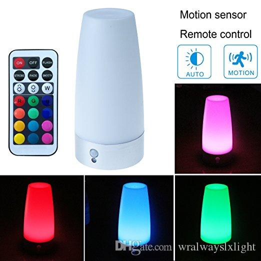 WRalwaysLX Retro LED Night Light Motion Sensor ,Small Table Lamp with Wireless Remote Control,Battery Powered Lamp for Kids Room,Bedroom,etc