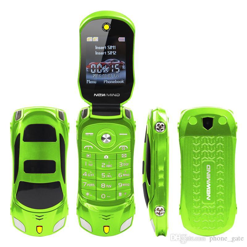 F15 Original Desbloqueado Flip Phone Dual Sim Mini Sports MP3 Model Car Lanterna Azul Bluetooth Móvel Celular 2SIM Celular Para o estudante de criança
