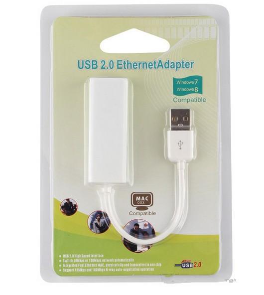 USB 2.0 ethernet RJ45 adaptador USB USB 2.0 para adaptador de cartão de rede LAN Ethernet de alta velocidade 10/100 Adaptador para PC windows7 8 com caixa de varejo