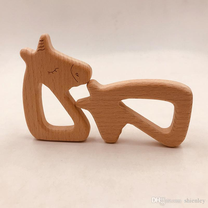 4pcs Infant Wooden horse shape Teethers for Baby Kids Molar Pacifier Chain Necklace Toys Food Grade Beech Teething Training Toy