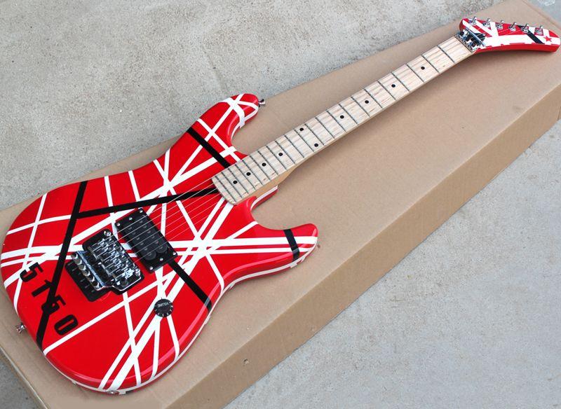 5150 Desenli Kırmızı / Beyaz Kram Elektro Gitar, Akçaağaç Klavye, Floyd Rose, istek olarak özelleştirilebilir