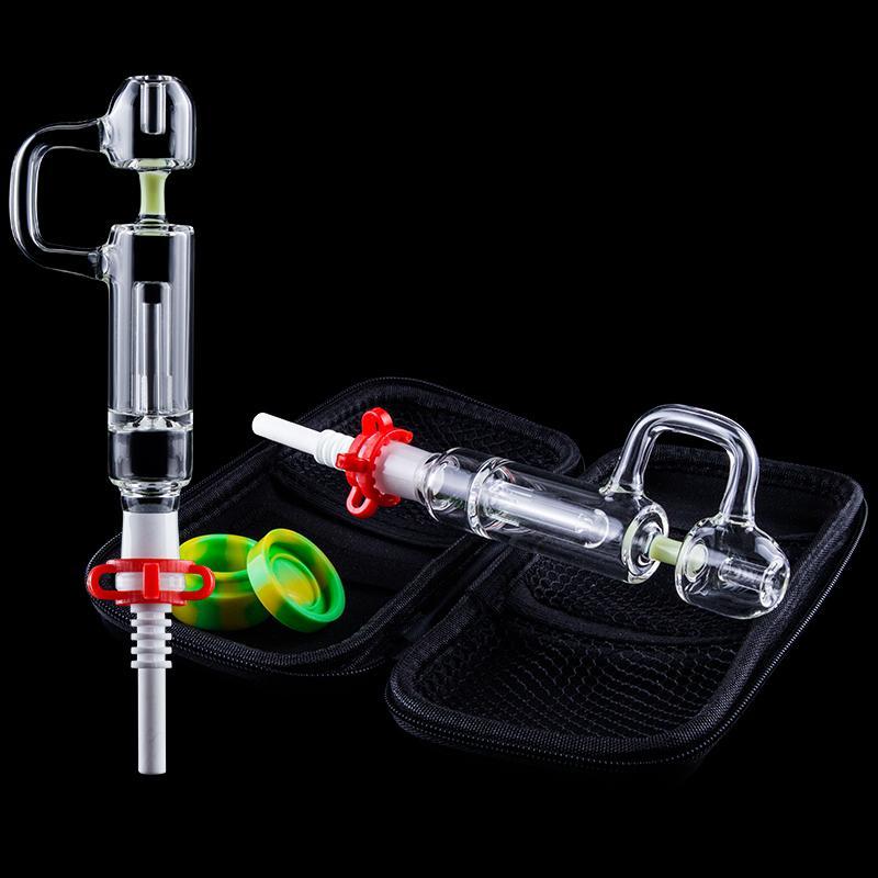 Colorido CSYC NC Pro Kit Recycler Dab de palha com 14 milímetros Titanium Quartz prego Silicone Jar Pipes Mini vidro água Bong Switch-bateu Tecnologia