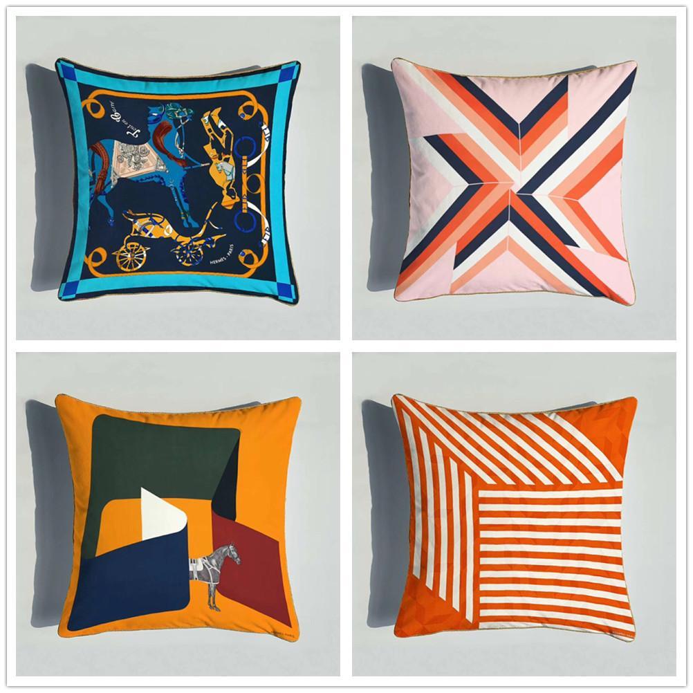 Retro Geometric Pattern Sofa Cushion Case Super Soft Double-sided European Animal Printing Pillow Case Model Bedroom Pillow Case