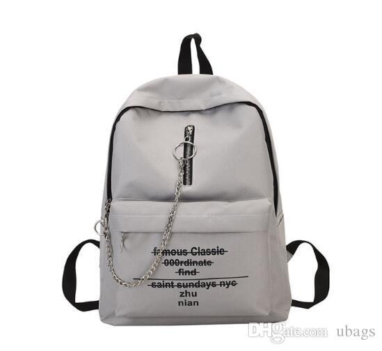 Sac de sac féminin Sac à dos Sac à dos Chaîne à bandoulière Imprimé Épaule Trend Double Alphabet imprimé Pokbc