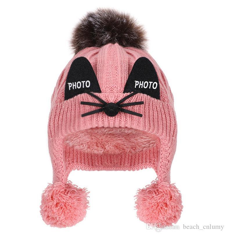 Çocuklar artı kadife örme şapka kış Beanie Kafatası Caps erkek ve kız pamuk şapka kadife karikatür kedi kulaklar sıcak Ponpon bebek şapka Açık