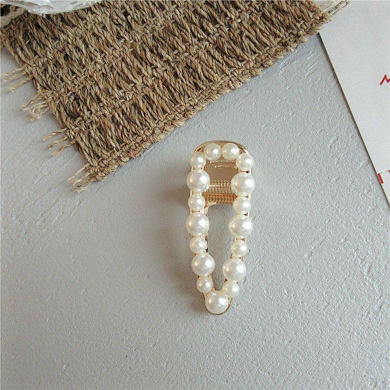 Accesorios de las pinzas de plata y pelo de la perla Barrette Hairclip de las horquillas de la perla blanca dama de pelo Ganascia Plata Y pLjpz