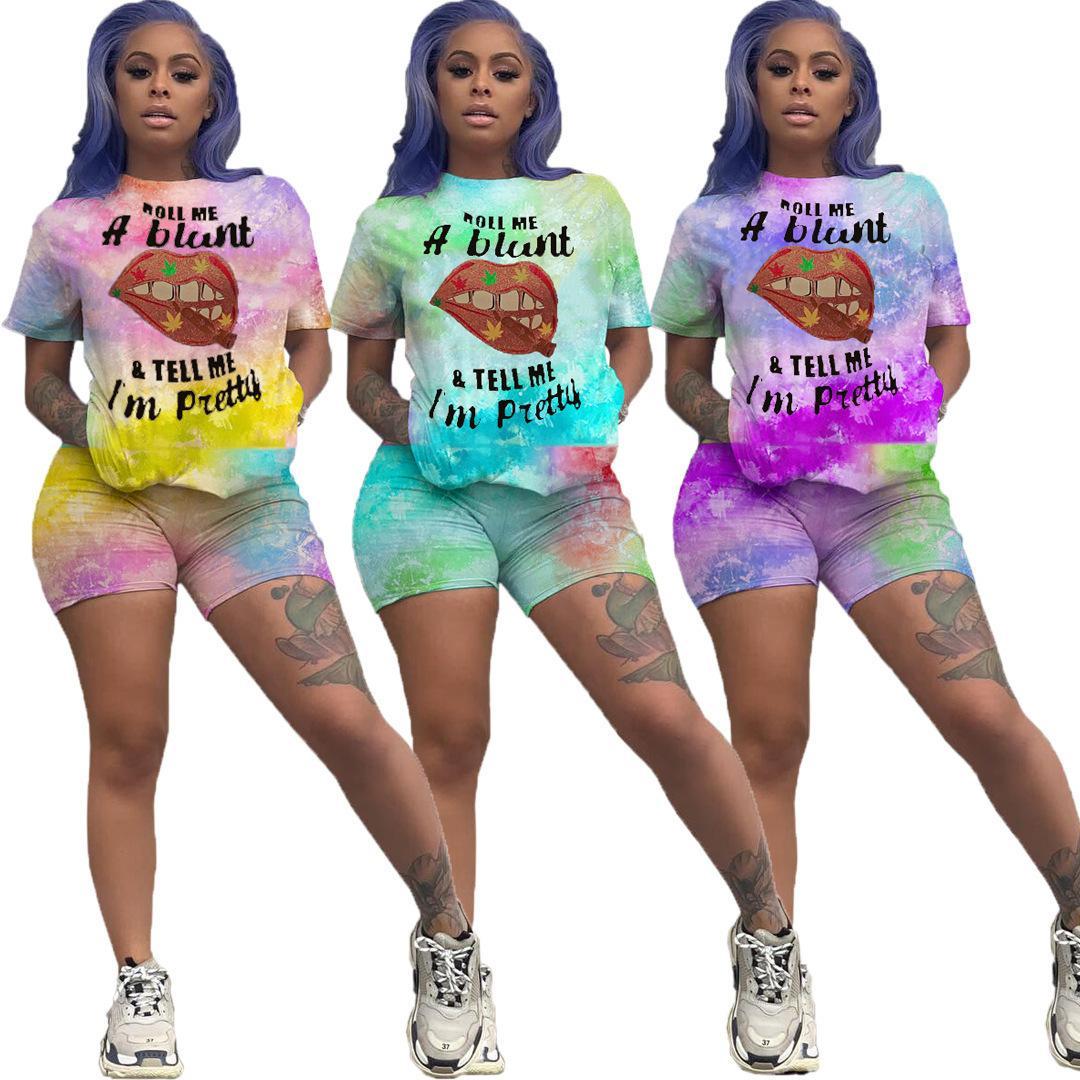 Tasarımcı Kadınlar İki Adet Kıyafetler Yaz Eşofman Dudak Batik Tişörtlü Üst + Pantolon 2 Adet Set Artı boyutu Bayanlar sweatsuits Giyim P0358