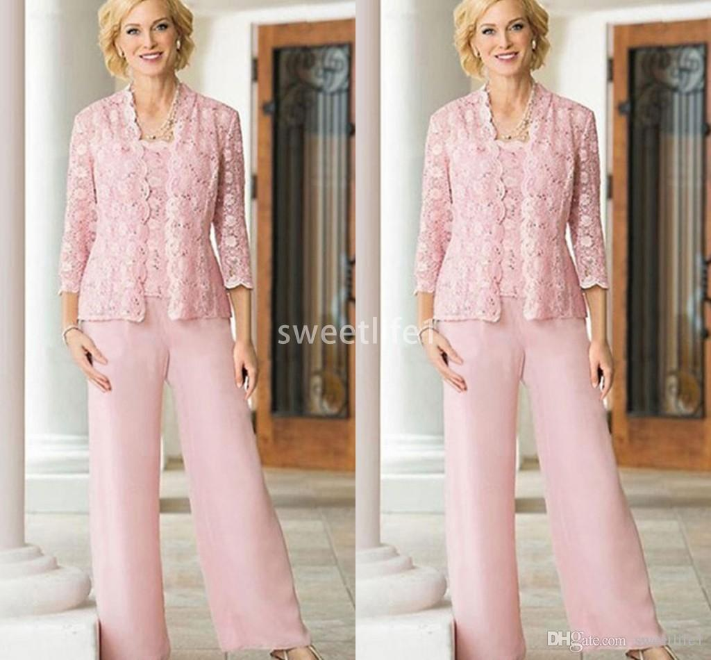 2019 New Pink With Jacket Mother Of The Bride Suits Chiffon Floor Length Pants Crew Neck Lace Top Wedding Guest Gown Formal Evening Dresses