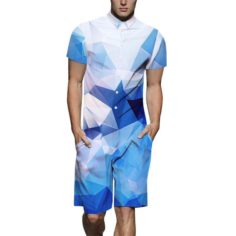 Summer Mens New Design Romper 3D Blue White Gradient Lattice Print Playsuit Male Short Sleeve Beach Sets Casual Jumpsuit US Size