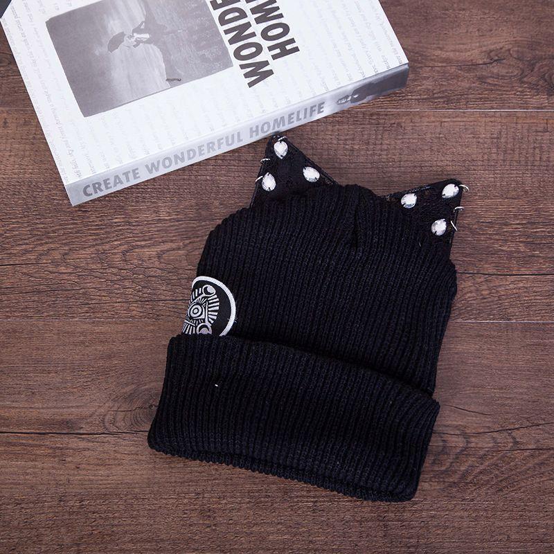 Новый хлопок кошка ухо Cute Keep Warm ручной вязки шляпа шнурок Rhinestone Hoop Cat Ears Вязание Hat мэм Пуловер из шерсти шапки