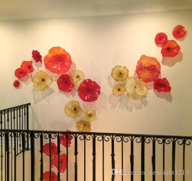Placas de pared del arte del diseño moderno de la flor de cristal de Murano italiano de cristal rojos Amber Colores Placas hotel pared del arte en cristal