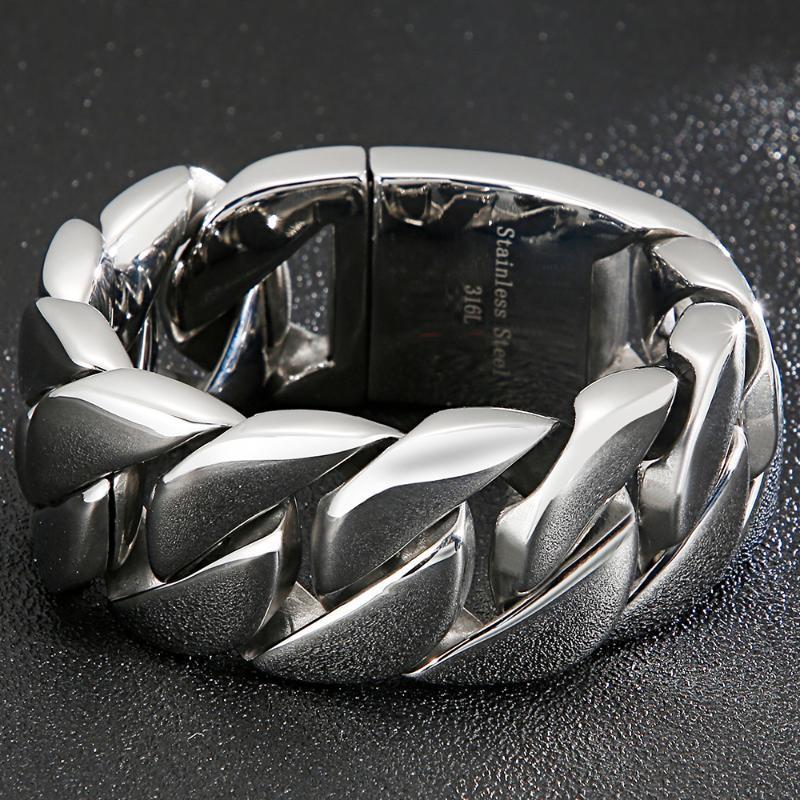 Ссылка, цепь тяжелый 31 мм широкий браслет мужские металлические хипхоп массивные из нержавеющей стали ювелирные изделия ювелирные изделия мужские браслеты браслеты на руке густые