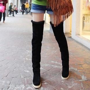 Botas altas de muslo Botas de invierno femeninas Mujeres sobre la rodilla Estiramiento plano Zapatos de moda sexy Montar hjm89 negro