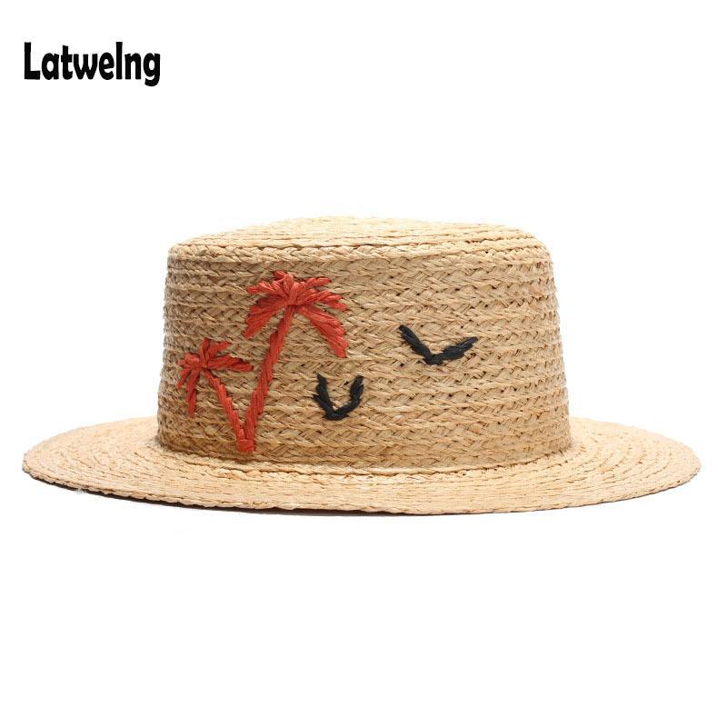 2018 NUEVA Alta Calidad de Verano Sombrero de Paja Sombreros de Sol Para Mujeres Niñas Rafia Hecha A Mano Flat Top Caps Party Cap Beach Hat Ajustable