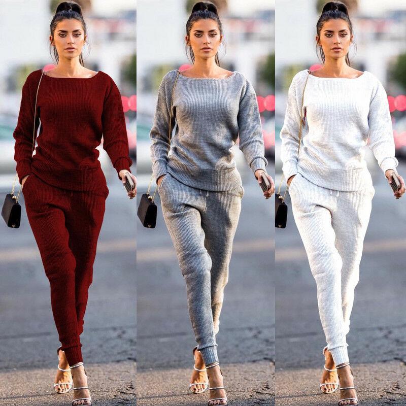 New 2Pcs Women Casual Pants Sets Tracksuit Hoodies Pants Sets Sport Lounge Wear Solid Color Casual Suit Femme