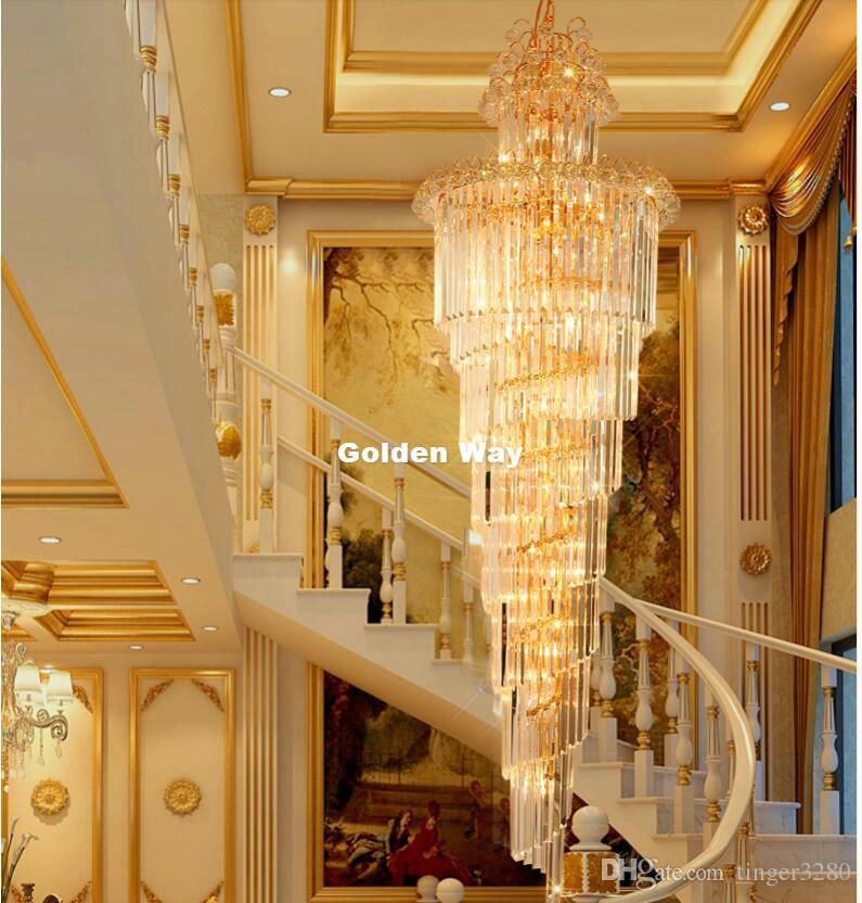 Las lámparas LED moderna araña de cristal vela titular Escalera moderna Lámparas Villa Sala de estar luz colgante envío