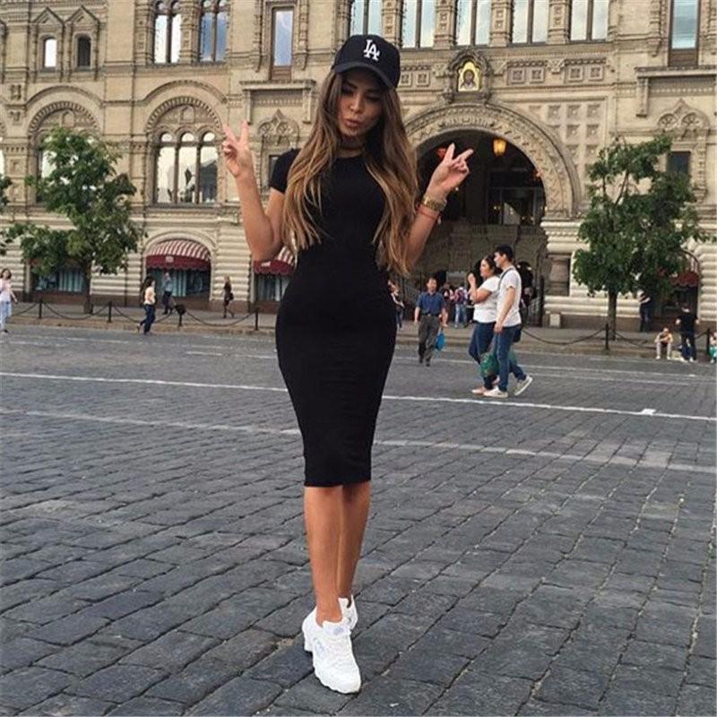 Bayan Elbise Vestido Kısa Kollu Ince Bodycon Elbise Tunik Ekip Boyun Rahat Kalem Yeni Varış drop shipping