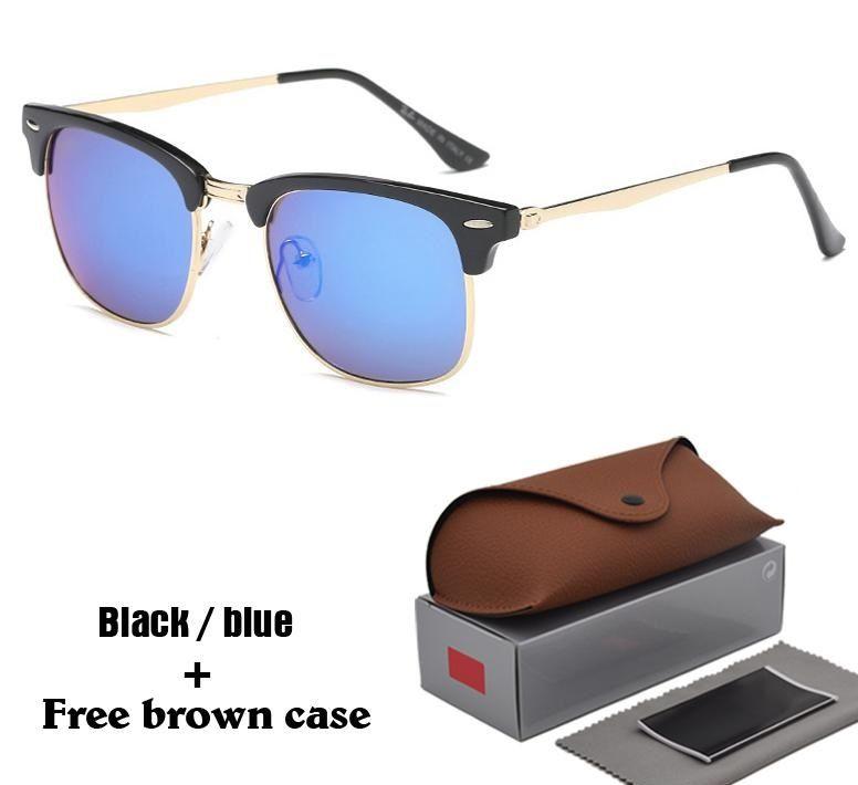diseñador de la marca gafas de sol para mujeres de los hombres de la moda del espejo Gafas de sol UV400 de las gafas de conducción Con casos marrones libres y Box