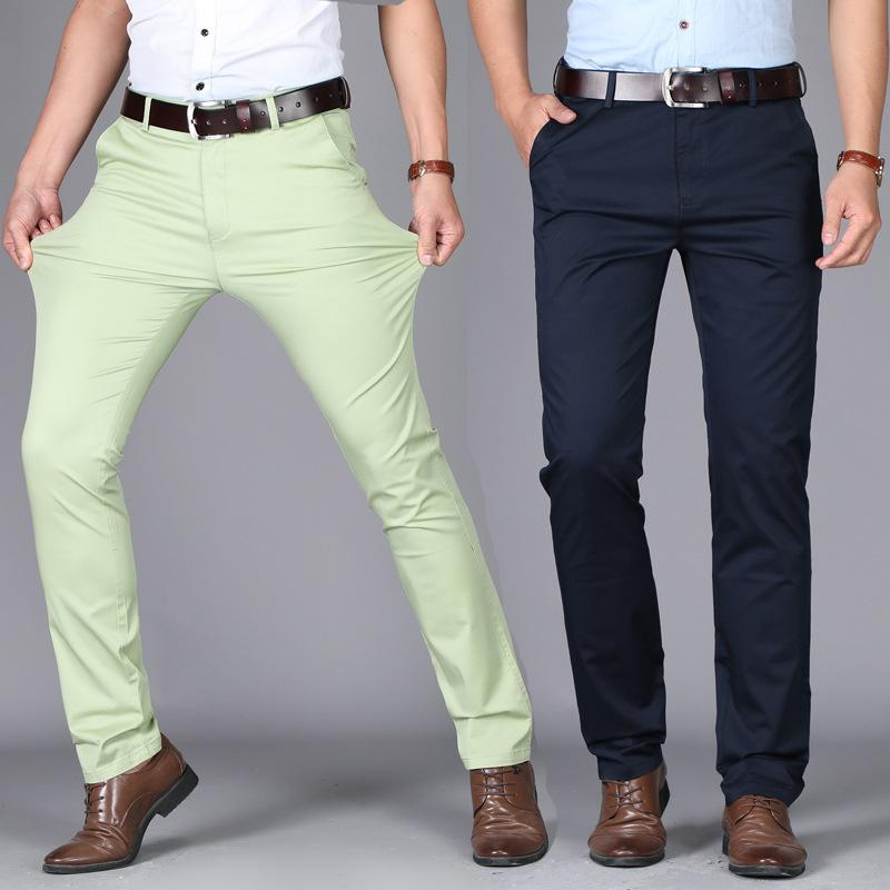 Мужские брюки 2021 повседневные упругие силы хлопчатобумажный тонкий прямой износ тонкие разрез брюки избежать сжигания хорошего качества продавать