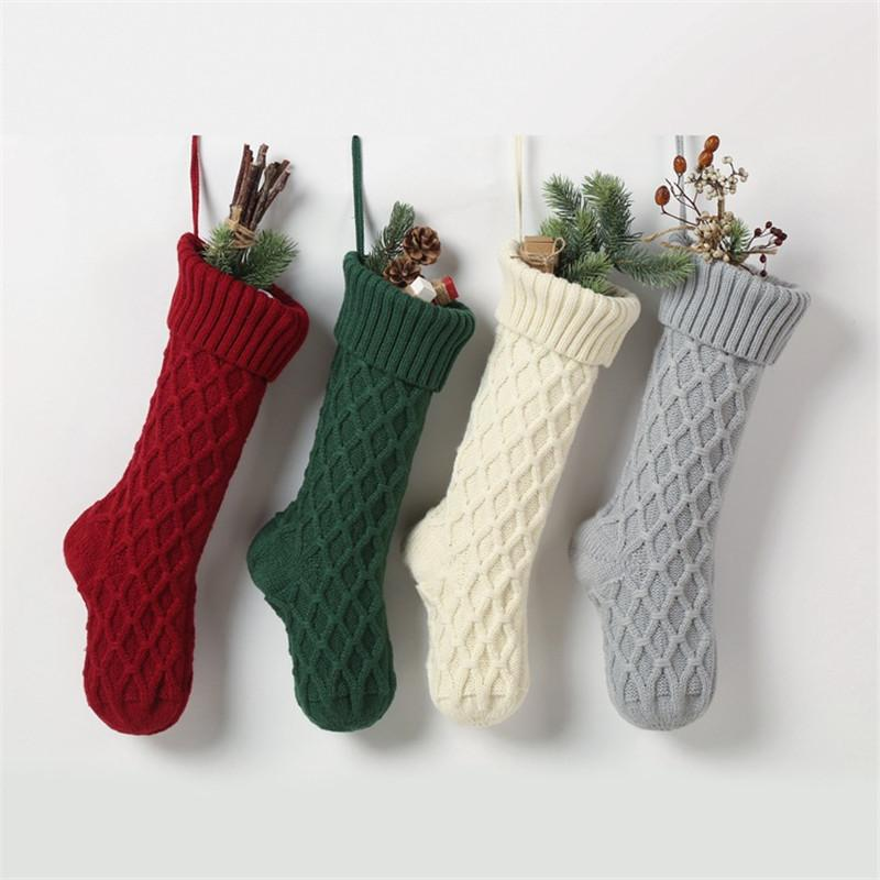 عيد الميلاد الاكريليك محبوك الجوارب أحمر أخضر أبيض رمادي الحياكة الجورب شجرة عيد الميلاد الشنق هدية سوك حزب عيد الميلاد الحلوى جوارب
