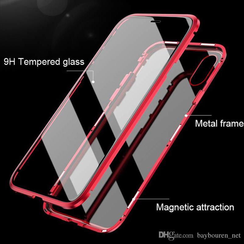 Ультра тонкая магнитная адсорбция металлический корпус Рама Передняя и задняя закаленное стекло всего тела Защитный чехол для Iphone XS Max XR 8 7