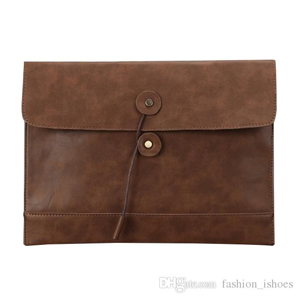 PU leather men cross section retro business casual file bag envelope bag briefcase holding 35x25x2cm #532636