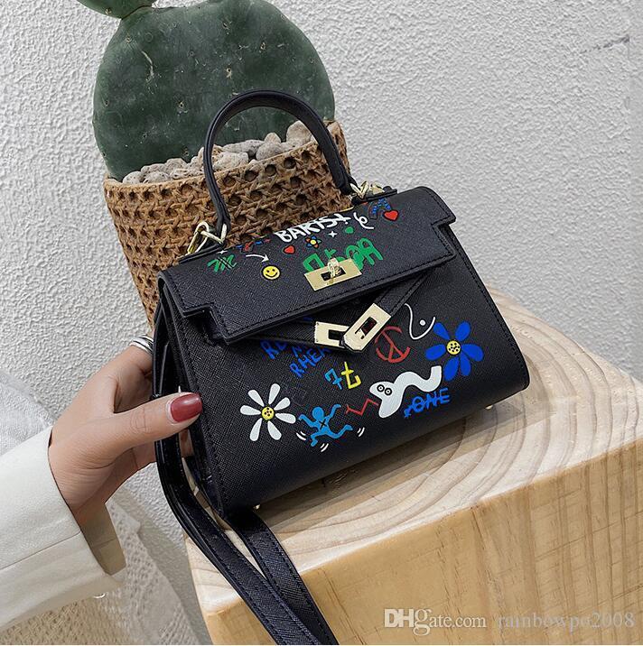 Factory wholesale women handbag street trend graffiti printing women shoulder bag Joker contrast leather handbag new printed messenger bag