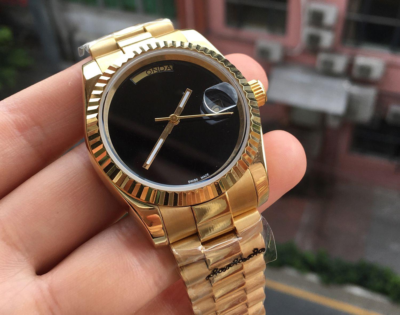 Lüks Daydate Gül Altın Orologio Lüks Erkekler İzle Tasarımcısı Saatler Gündüz-Tarihli Başkan Otomatik Saatler 2813 Otomatik Saatı