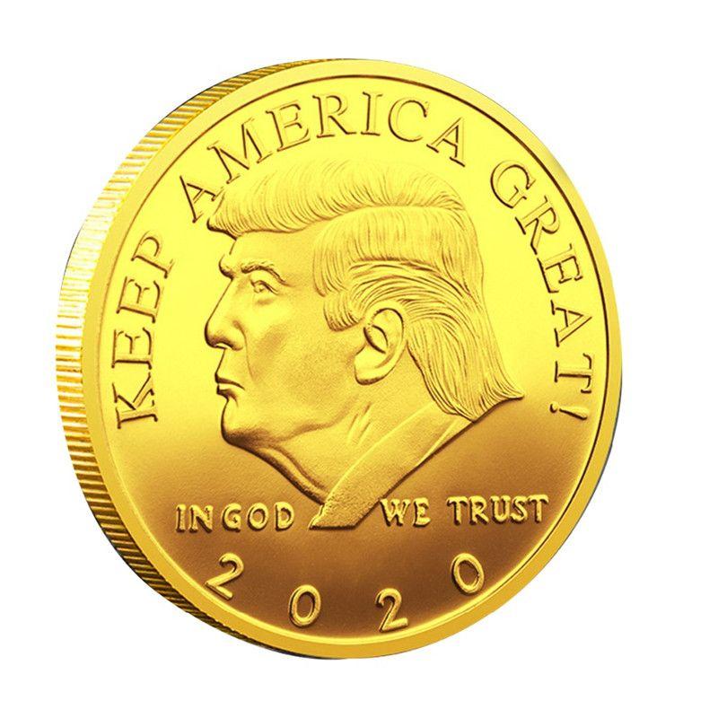2020 عملات ترامب التذكارية عملة الرئيس الأمريكي 45 دونالد كرافت تذكارية الذهب والفضة معدن شارة مجموعة غير العملات