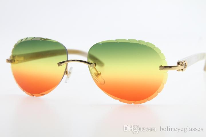 Wholesale Sun Glasses Hot 3524016 Rimless White White Genuine Horn Sunglasses Unisex Driving Round Glasses with box Carved Green Red Len New