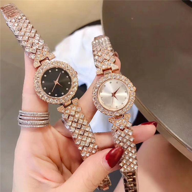 Nice Mode Fashion Luxury Women Watch Full Diamonds Special Design Relojes De Marca Mujer Lady Dress Wristwatch Quartz Clock Rose gold