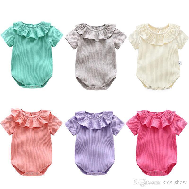 Summer Baby Girls Solide Couleur Coton barboteuses à manches courtes Fungus col en dentelle Mignon Nouveau-né Enfants Vêtements