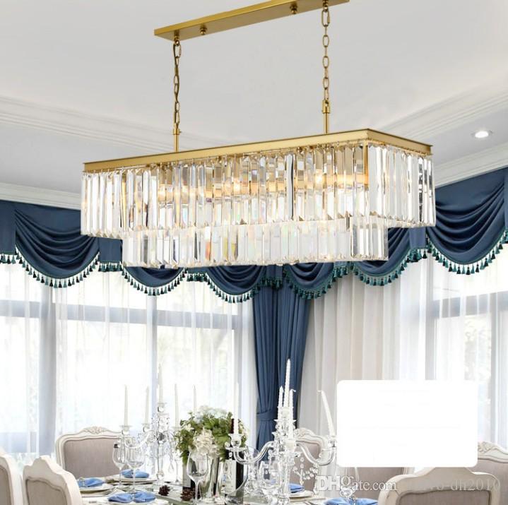 ساحة RH الحديثة زجاج كريستال الثريا أضواء الذهبي شنقا سلسلة مستطيل LED الثريا قلادة ضوء مصباح للغرفة طعام LLFA
