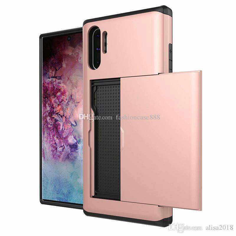 Híbrido a prueba de golpes caso ranuras para tarjetas de crédito PC TPU para el borde de Samsung S8 S9 PLUS NOTE8 NOTE9 Nota 10 PLUS S7 J3 J5 J7 2016 A310 A510 A710